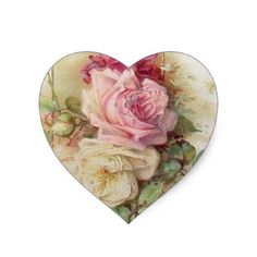 #Vintage Victorian pink and white Roses Heart Sticker - #floral #gifts #flower #flowers