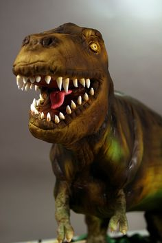 Marble cake with vanilla buttercream. Decorated in fondant, RKT, modeling chocolate and crushed cookies. T Rex Cake, Dino Cake, Dinosaur Cake, Beautiful Cakes, Amazing Cakes, Gravity Defying Cake, Marble Cake, Character Cakes, Modeling Chocolate