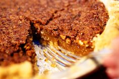 Chocolate Pecan Pie - Just add a few (like a whole bag) of Ghirardelli milk chocolate chips and a handful of chopped caramels on top of the pecans in the bottom of the pie. Allow for more baking time due to the extra liquidy chocolate