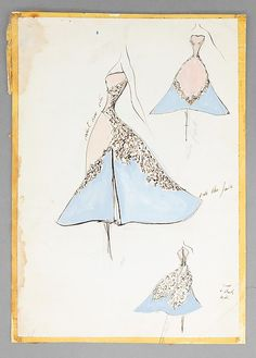Sketch '' Clover Leaf ''  Ball Gown  Designer:   Charles James (American, born Great Britain, 1906–1978) Date: 1952–53   Paper, watercolor, ink, graphite   © Charles B.H. James and Louise D.B. Jame
