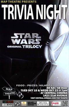 Seattle Jedi, test your Star Wars knowledge at Star Wars Trivia Night at Central Cinema on October 15 and 23