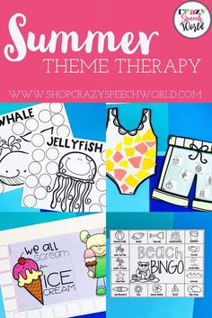 Open ended games for speech therapy, great for any student on your caseload or mixed groups. Includes no prep and low prep games with fun summer themes: ocean animals, beach, pool party, ice cream, Cookout, and fireworks.