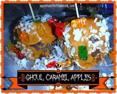 Try these ghoulish Caramel Apples with your kids for a fun treat! (Mostly Vegan)