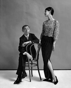 """Mr. Galanos with a model in 1961. He once said he designed for only a certain type of woman, """"one that has money."""" Credit Gleb Derujinsky"""