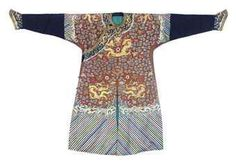 A formal court robe (chifu) for an Imperial Duke. Qing dynasty, circa 1850-60. Photo 2911 Christie's Ltd.  Embroidered with nine gilt dragons with prominent eyes against a ground with broad, blue cloud bands, the lower sleeves of pleated dark blue silk.