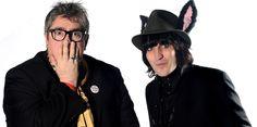 Phil Jupitus & Noel Fielding. Phil is in shock at Noel's donkey ears hat !