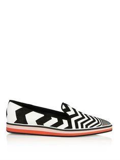 Nicholas Kirkwood Suede chevron contrast loafers