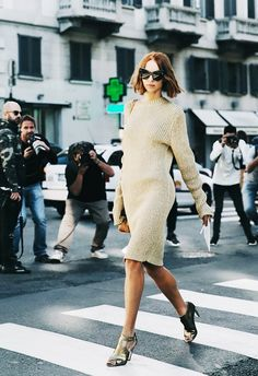 Pair a sweaterdress with metallic heels.