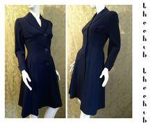 Elegant Vtg 1940s 50s Worsted Flare Luxury Coat New Look Swing Hourglass Alexon