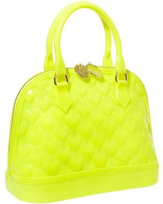 Betsey Johnson LUV-BETSEY Quilted Heart Jelly Embossed Dome Satchel Bag - Yellow #BetseyJohnson #Satchel