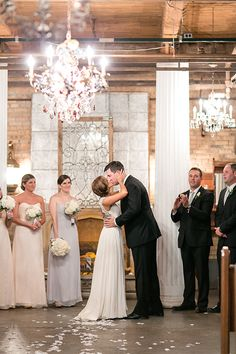 An eclectic ceremony at Salvage One in Chicago | @chelsperphoto | Brides.com