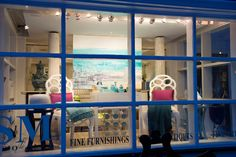 "SM Home Gallery Winter 2015 Art Show ""Coastal Expressions"" front window featuring the artwork of Barbara Sussberg (Ocean V) www.sandramorganinteriors.com"