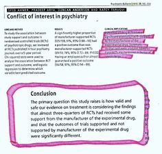 """Conflict of interest in psychiatry Psychiatric Bulletin (2005),29, 302-304 SYED AHMER, PRADEEP ARYA, DUNCAN ANDERSON AND RAFEY FARUQUI   """"The primary question this study raises is hovv valid and safe our evidence on treatment is considering the findings that almost three-quarters of RCTs had received some support from the manufacturer of the experimental drug, and that the outcomes of trials supported and not supported by manufacturer of the experimental drug were significantly different."""" Randomized Controlled Trial, Psychiatry, Dementia, Arya, Trials, Hospitality, Clinic, Drugs, Study"""