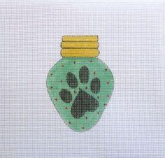 $12.95       Dog Heart Paw Print Christmas Lightbulb Handpainted Needlepoint Canvas #Unbranded