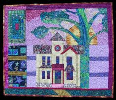 """Dream House"" is an art quilt by Denise Konicek, who says:  "" A dream house means many things to many people"""