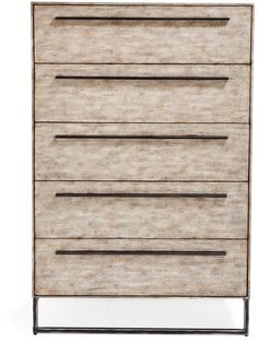 """ABC Home Driftwood 5-Drawer Chest -Gray-toned, driftwood finish was made exclusively for ABC. Finished with a black metal sled base frame and handles. Pair with the Driftwood Finish Bed Frame.Avoid exposure to heat; avoid sharp objects; avoid strong cleaning products; dust with a soft dry cloth 36""""w x 19""""d x 54""""h"""