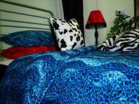 Aqua Cheetah Print bed set...twin $59