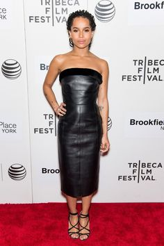Clad in a black leather dress by Balenciaga, Zoë Kravitz oozed cool at the premiere of Good Kill at the 2015 Tribeca Film Festival.