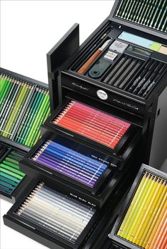 Faber-Castell KARLBOX Limited-Edition Collection of the Finest Drawing Tools Stationary Store, Stationary School, Art Supplies Storage, Craft Supplies, Colores Faber Castell, School Accessories, Cute School Supplies, Drawing Tools, Box Design