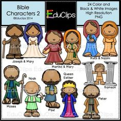 Bible Characters 2 Clip Art Bundle (Color and B&W) - Edu Clips Bible School Crafts, Preschool Bible, Sunday School Crafts, Bible Crafts, Clipart, Kids Sunday School Lessons, School Ideas, Abraham And Sarah, Mary And Martha