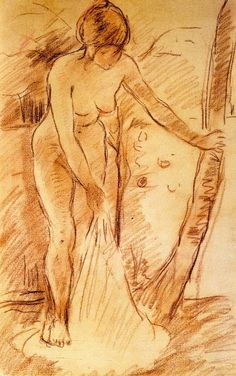 The Athenaeum - Bather Standing (Berthe Morisot - ) Pierre Auguste Renoir, Edouard Manet, Life Drawing, Figure Drawing, Berthe Morisot, Monet, France Art, Photo D Art, Edgar Degas