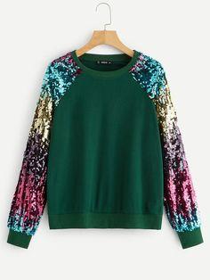 Green Sequin Raglan Long Sleeve Rock Sweatshirt Women 2019 Spring Streetwear Pullover Casual Ladies Tops Green S Look Fashion, Fashion Outfits, Fashion Black, Fashion Ideas, Raglan, Types Of Sleeves, Ideias Fashion, Street Wear, Sequins