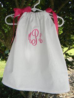 Monogrammed White Pillowcase Dress. $27.95, via Etsy.