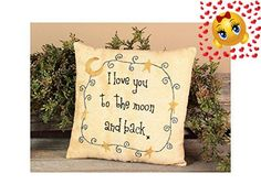 "#bedding A country decor pillow in the moon and stars theme, the ""I #Love You To The Moon and Back"" Pillow features an embroidered sentiment. The ecru country pi..."