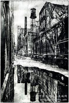 """Works"" by Michael Goro, intaglio"