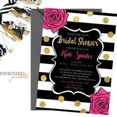 Bridal shower invitation, gold glitter invitation, floral bridal shower - Pink…