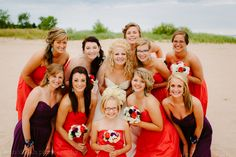 Beach wedding - bridesmaids pose: Two Rivers, WI