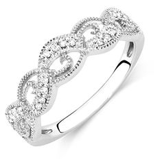 1/10 Carat TW Diamond Swirl Ring