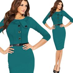 Womens New Vintage Pinup Rockabilly Elegant Wear To Work Business Casual Tunic Midi Bodycon Sheath Pencil Dress vestidos CG0022-in Dresses from Women's Clothing & Accessories on Aliexpress.com | Alibaba Group