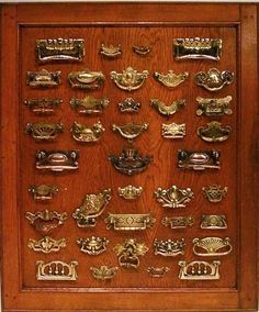 A display of Aesthetic Movement Drawer Handles