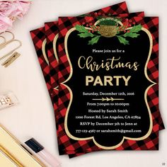 plaid christmas holiday party invitation card