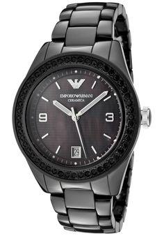 d3a4edeba0c Emporio Armani Watch AR1423 Black Crystal Black Mother Of Pearl Dial Black  Black Mother