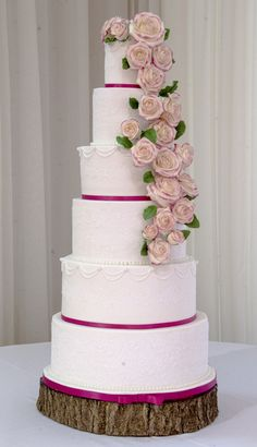 Lace & Rose wedding cake. Elegant cake.  All cake, no dummies, sugar roses and edible lace. One of my favs
