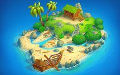 Cartoon Pirate Ship, Cartoon Island, Badge Icon, Isometric Art, Oil Pastel Art, Game Concept Art, Environment Concept Art, Environmental Art, Fantasy Character Design