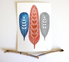 Feather Painting - Modern Watercolor Art -  Archival Print - 8x10 Sprout Feathers