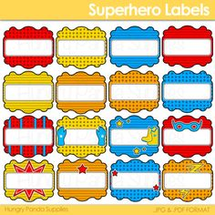 Superhero Party Labels, printable candy buffet labels, super hero party, digital download, candy buffet labels
