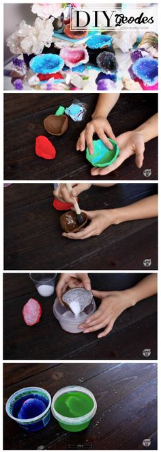 Learn how to make Crystals with Polymer Clay - LifeAnnStyle DIY Sparkly Geode Crystals w/ Polymer Clay |