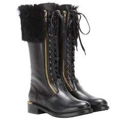 11 Furry Boots to Get You Excited for Winter Black Leather Shoes, Real Leather, Leather Boots, Black Shoes, Furry Boots, Salvatore Ferragamo Shoes, Winter Boots, Modern, Combat Boots