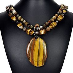 "Natural Tiger's Eye & Brown Botswana Agate 21"" Pendant Necklace Handmade Jewelry"