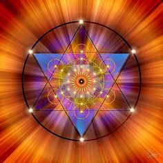Lunes Chacra 2 NARANJA  SVADHISTHANA  La energía se planta como una semilla por encima del coxis (por encima de la primera vértebra, en la rabadilla, donde el trasero curva hacia adentro) o a tres centímetros por debajo del ombligo... Se vincula con una flor o figura de 6 pétalos (6 poderes). O con el Merkabah, como en la imagen Mandala: Endre Balogh, www.fineartamerica.com