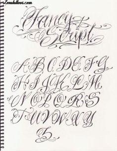 Letras para Tatuajes Cursiva Abecedario | Letras para tatuajes