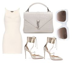 A fashion look from June 2017 featuring mini dress, christian louboutin shoes and monogrammed purses. Browse and shop related looks. Off White Fashion, Yeezy By Kanye West, Night Out Outfit, Knee High Boots, Ladies Fashion, Womens Fashion, Yves Saint Laurent, Christian Louboutin, Cool Outfits
