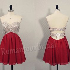 Hot Wine Red Prom Dress Short Prom Gown Beaded Chiffon Ball Gown Sexy Low Back Prom Dress Party Dress Graduation Homecoming Dress Cocktail
