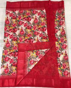 online womens traditional sarees Floral Print Sarees, Printed Sarees, Floral Prints, Kota Silk Saree, Cotton Saree, Elegant Fashion Wear, Trendy Fashion, Designer Silk Sarees, Wedding Silk Saree