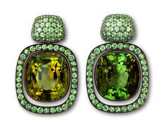 Hemmerle earrings, copper, white gold, olive green and green tourmalines, green sapphires