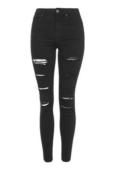Find perfect-fitting jeans at Topshop. From skinny jeans to stylish high-risers, snap up new season denim now. Cute Ripped Jeans, High Waisted Distressed Jeans, High Waisted Black Jeans, Distressed Black Jeans, High Waist Jeans, Black Denim, Petite Skinny Jeans, Ripped Skinny Jeans, Topshop